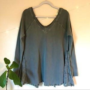 Free People Olive V Neck Tunic Pullover XS